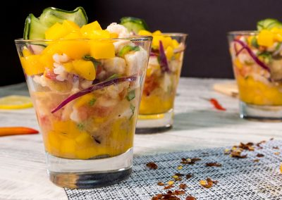 Ceviche de pescado con Mango Del Monte Frutas®